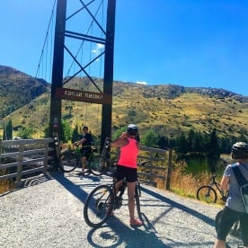 Lining up the shot at Edgar Bridge on the Queenstown Trail