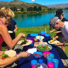 Amanda rocking the yummy lunch! Near Old Cromwell Town with the Kawarau River as backdrop.