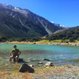 Taking a moment to relax in the Blue Lakes Aoraki Mount Cook National Park
