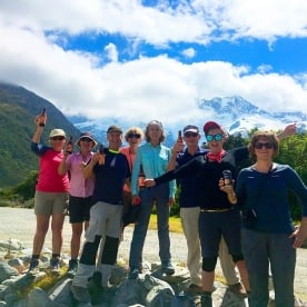 Cheers! Some outdoor refreshment at Aoraki/Mt Cook National Park. Mt Sefton in the background.