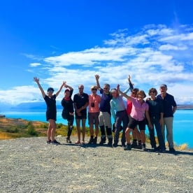 The crazy colours of Lake Pukaki inspiring some craziness with this lot!