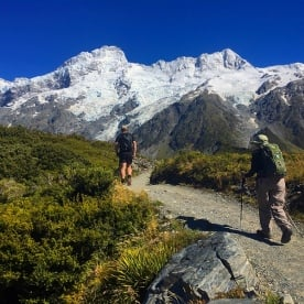 Hiking up the Hooker Valley