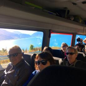 The team looking stoked on the drive out of Queenstown