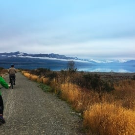 Cycling on the Alps to Ocean trail around Lake Pukaki. Aorkai/Mt Cook