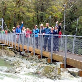Group at Routeburn Track bridge