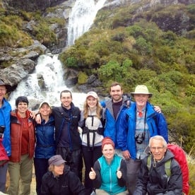 Group at Routeburn Track falls