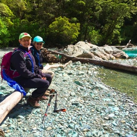 Snack break at Forge Flats on the Routeburn Track