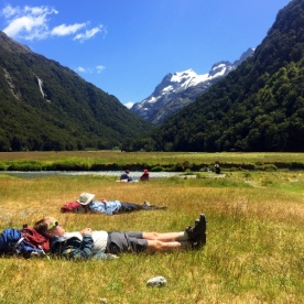 rest at routeburn track valley