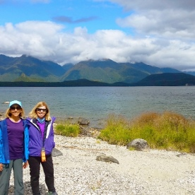 hikers at lake manapouri