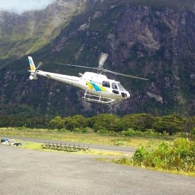 boarding helicopters at milford sound