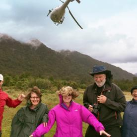 Helicopter landing in Fiordland backcountry