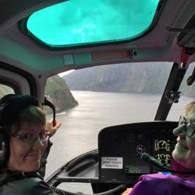 Flying down Milford Sound to Martins Bay