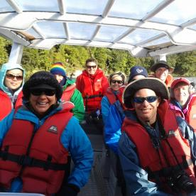 Lots of smiles on the Hollyford River jetboat