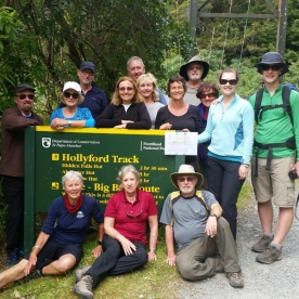 The Group at the Hollyford Track Sign