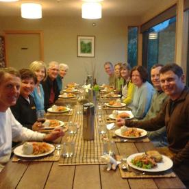 Group enjoying dinner at Martins Bay Lodge