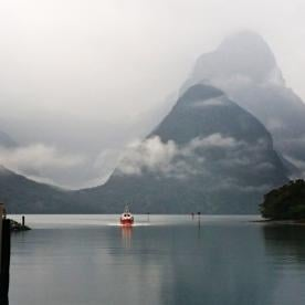 Milford Sound boat approaching
