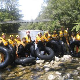 Rafting Group at Nile River swingbridge
