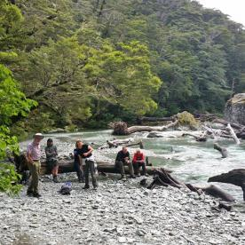 Taking a break by the Routeburn River