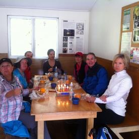 Birthday celebration at Routeburn Flats hut