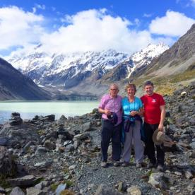 Hikers and Guide at the Hooker Glacier Lake