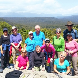 hiking group at the okarito trig lookout