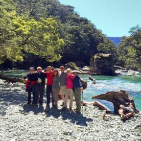 Hiking Group by the Routeburn River