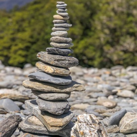 Cairn at Makarora river, Otago New Zealand