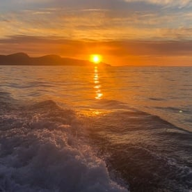 Sunrise from the boat at Kaikoura, New Zealand
