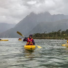 Kayaking tour at Milford Sound, Fiordland New Zealand