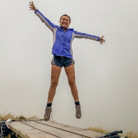 Happy hiker at Sealy Tarns Track, Canterbury New Zealand