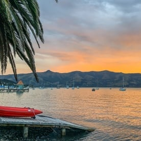 Sunset at Akaroa Harbour, Canterbury New Zealand