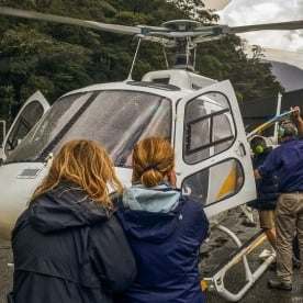 Helcopter boarding at Milford Sound, Fiordland New Zealand