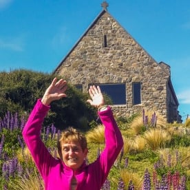 Happy ladies at Lake Tekapo, Canterbury New Zealand