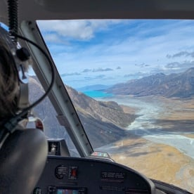 Helicopter view of Lake Pukaki, Canterbury New Zealand