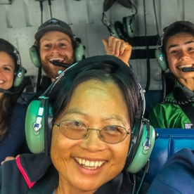Group selfie in the helicopter in New Zealand