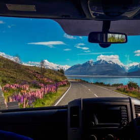 On the road at Lake Pukaki, Otago New Zealand