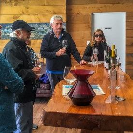 Wine tasting at Kinross wineyards, Gibbston Otago New Zealand