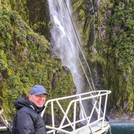 Guest at Stirling Falls, Milford Sound Fiordland Southland New Zealand