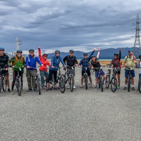 Biking group at Lake Tekapo, Canterbury New Zealand