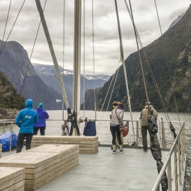 Boat tour at Milford Sound, Fiordland New Zealand