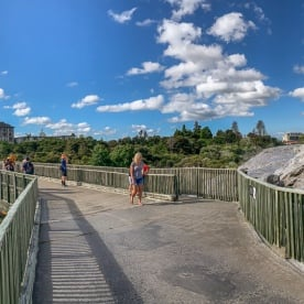 Walking at Te Puia Pohutu Geyser at Rotorua, Bay of Plenty New Zealand