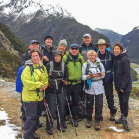 Group atop of the Routeburn track valley, Otago New Zealand