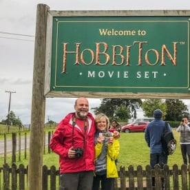 Couple at Hobbiton Movie Set, Matamata, Waikato New Zealand