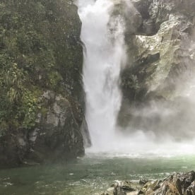 Hidden falls at Hollyford track, Fiordland New Zealand