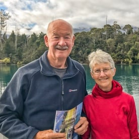 Couple on the boat at Lake Wakatipu, Otago New Zealand