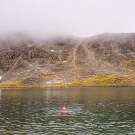 Swim at Angelus Lake, Tasman New Zealand