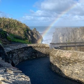 Rainbow at Punakaiki pancake rocks, West Coast New Zealand