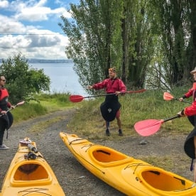 Practicing kayak at Lake Taupo, Waikato New Zealand