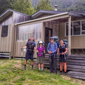 Group at Lakehead Hut in Nelson, Tasman New Zealand