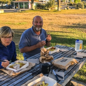 Fish and chips at Lake Taupo, Waikato New Zealand